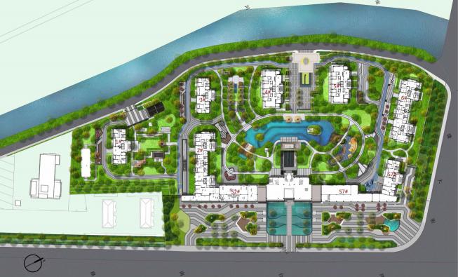 [南京]某现代轻奢高档住宅景观方案设计-总平面图