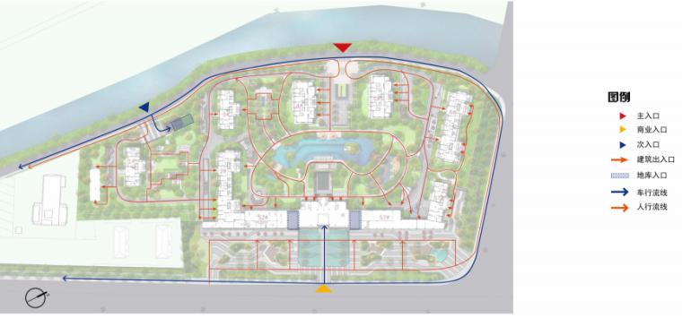 [南京]某现代轻奢高档住宅景观方案设计-动线分析
