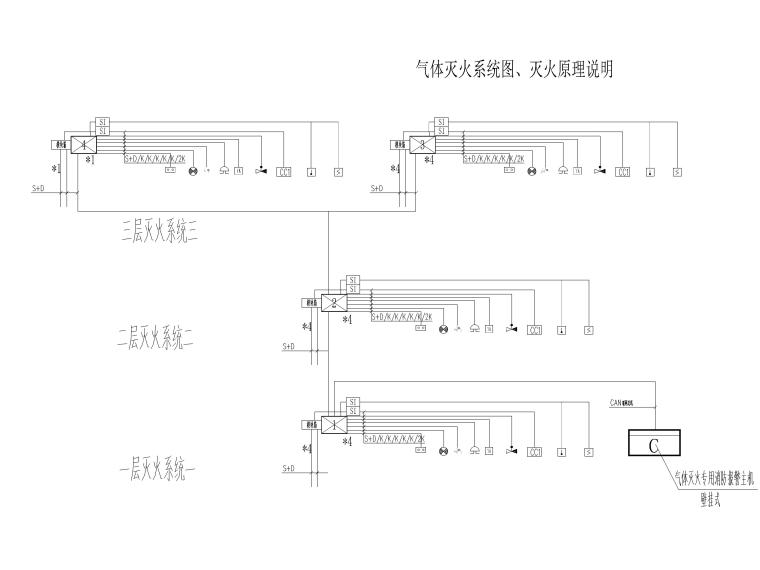[上海]某银行征信中心装修工程电气施工图-7气体灭火系统图