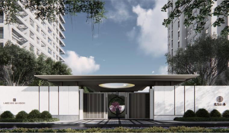 [南京]某现代轻奢高档住宅景观方案设计-主入口效果图