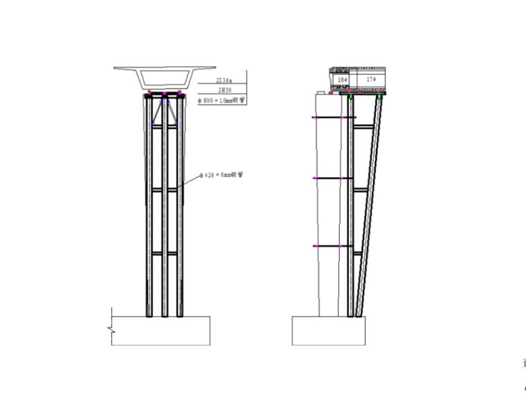 [浙江]跨海大桥通航孔技术方案及相关图纸-墩旁临时支架设计图