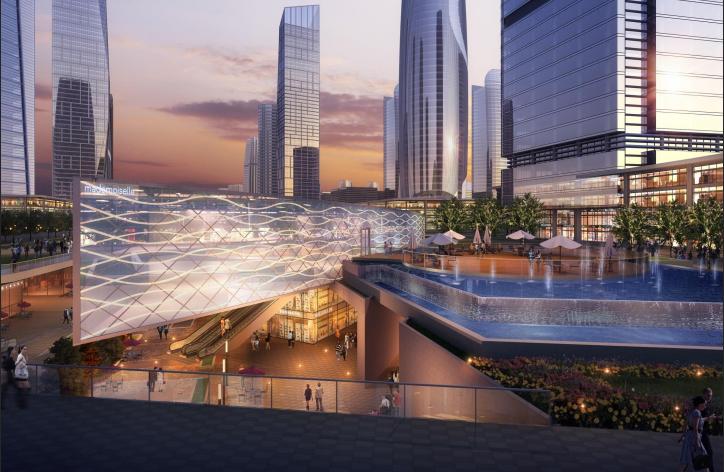 [浙江]温州滨江商务区中央绿轴景观设计-雕塑公园与商业中心效果图