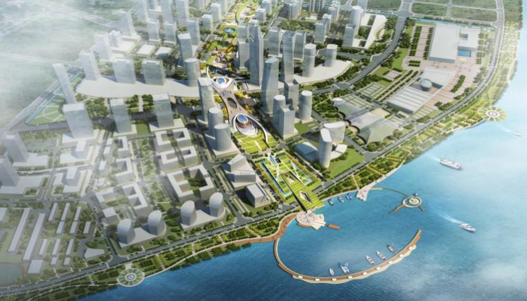 [浙江]温州滨江商务区中央绿轴景观设计-鸟瞰图