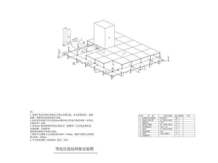 [上海]某银行征信中心装修工程电气施工图-12等电位联结网络安装图