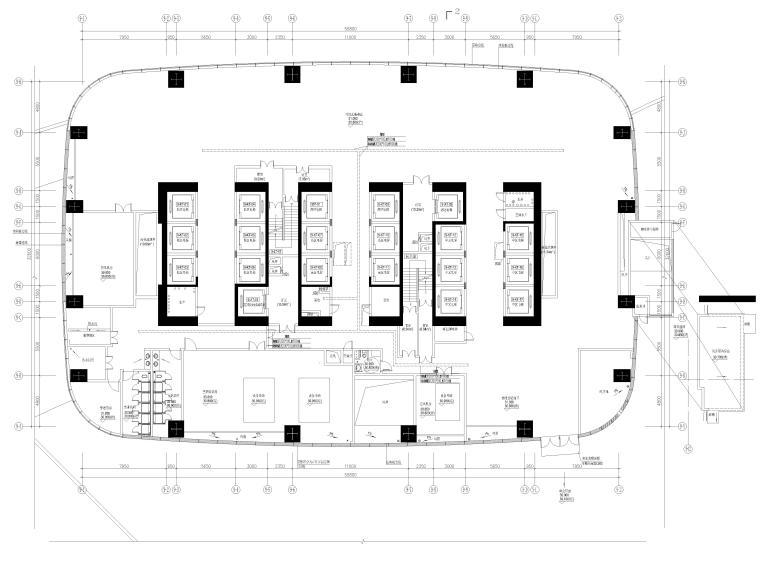 深圳知名商业中心电气图纸(办公裙房住宅)-2弱电平面图