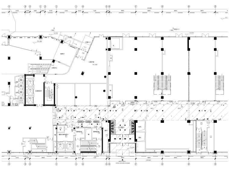 [北京]三里屯通盈中心1~2F商场内装施工图-一层局部放大家具索引图