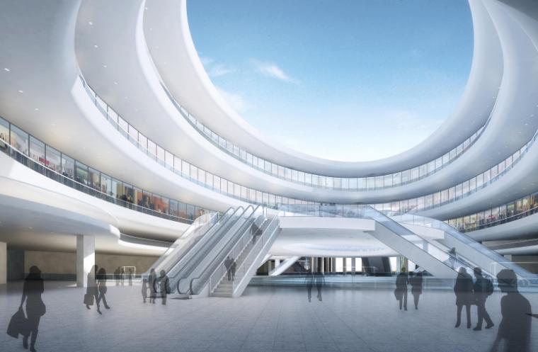 [浙江]温州滨江商务区中央绿轴景观设计-综合交通枢纽效果图