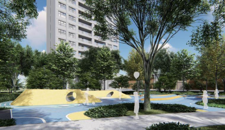 [南京]某现代轻奢高档住宅景观方案设计-儿童活动区效果图