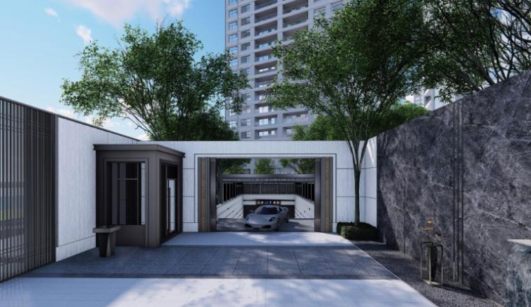 [南京]某现代轻奢高档住宅景观方案设计-次入口花园效果图