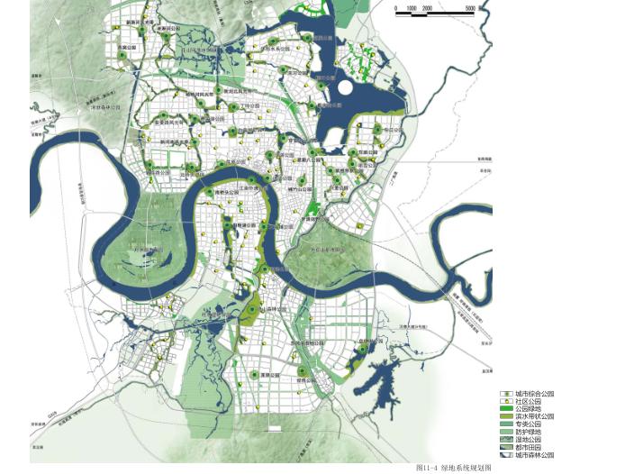 常德市总体城市设计规划文本2018_中规-绿地系统规划图