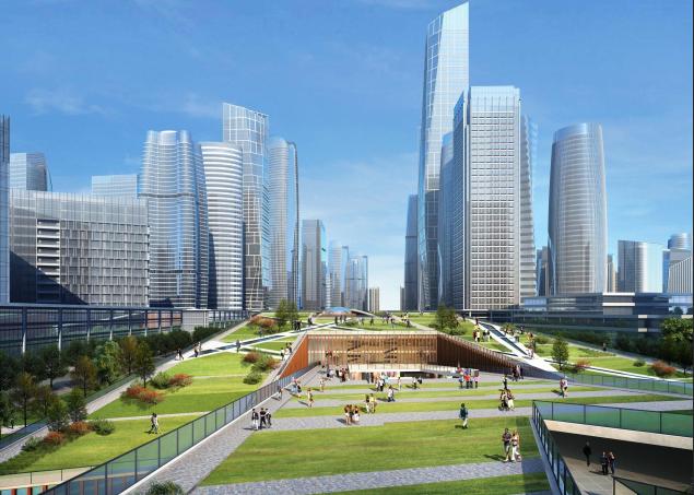 [浙江]温州滨江商务区中央绿轴景观设计-市民博物馆效果图