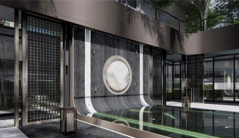 [南京]某现代轻奢高档住宅景观方案设计-商业入口效果图