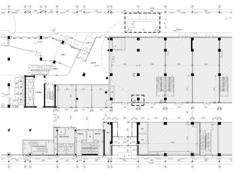 [北京]三里屯通盈中心1~2F商场内装施工图-一层局部放大新建墙体图