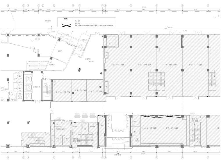 [北京]三里屯通盈中心1~2F商场内装施工图-一层局部放大平面图