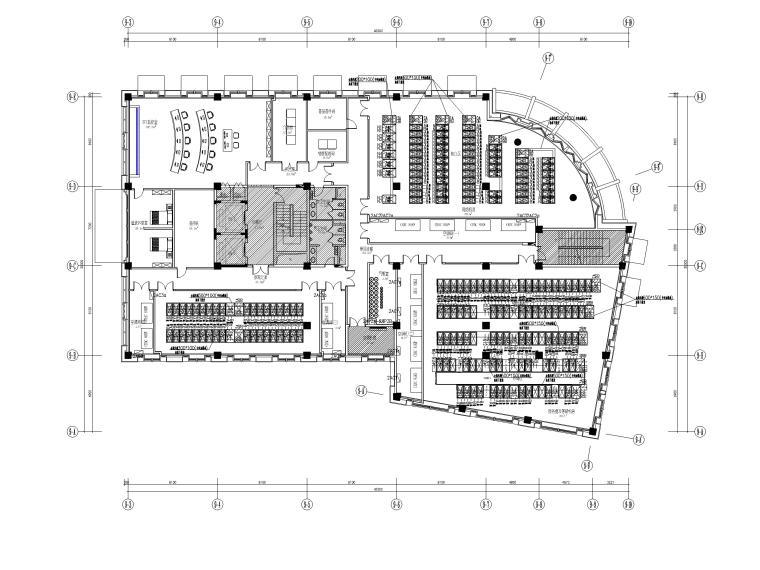[上海]某银行征信中心装修工程电气施工图-4强电列头柜电源布线平面布置图
