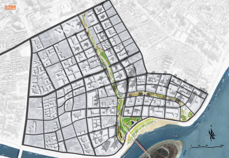 [武汉]某街区核心绿轴街道景观设计-ATKINS-总平面图