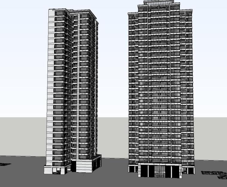 重庆某现代高层住宅建筑模型设计 (2)