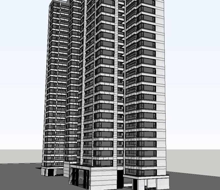 重庆某现代高层住宅建筑模型设计 (6)