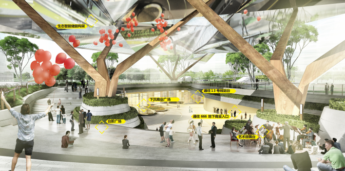 [武汉]某街区核心绿轴街道景观设计-ATKINS-下沉广场