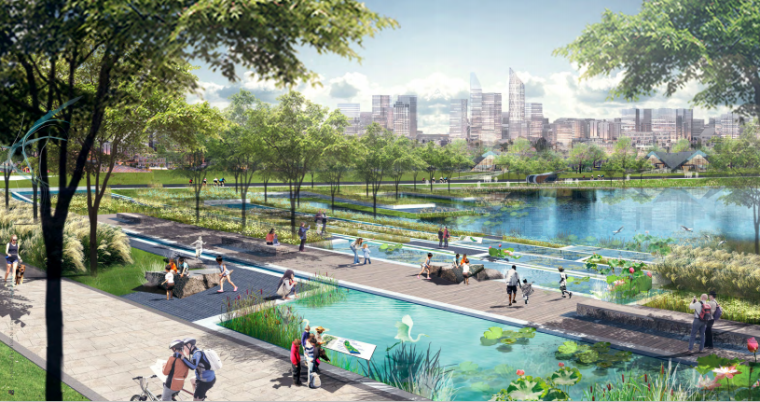 [四川]成都天府中央公园概念方案设计SWA-雨水阶梯花园