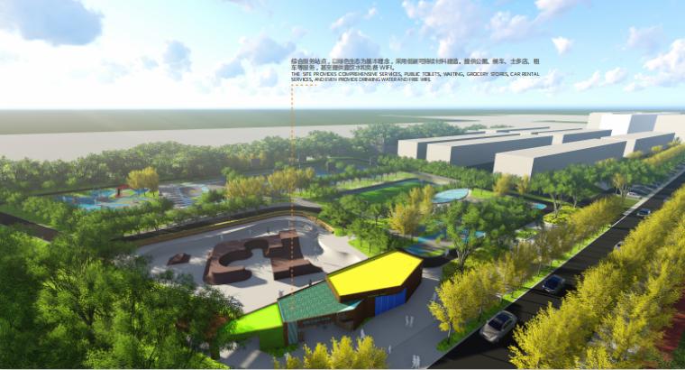 [山东]烟台黄金河河滨公园景观方案设计-综合服务站效果图