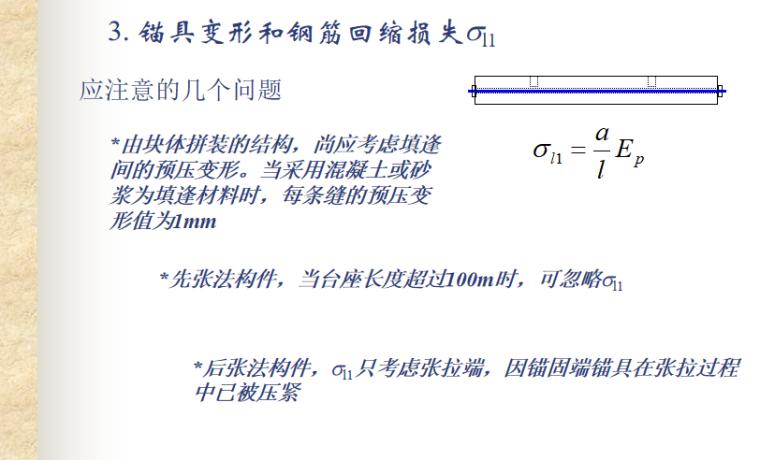 预应力混凝土结构的性能与计算讲义PPT-08 锚具变形和钢筋回缩损失