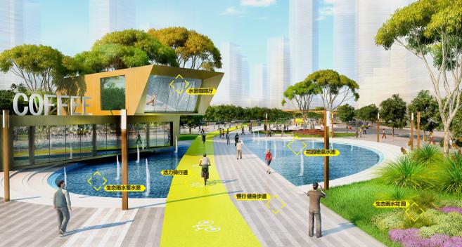 [武汉]某街区核心绿轴街道景观设计-ATKINS-生态咖啡厅