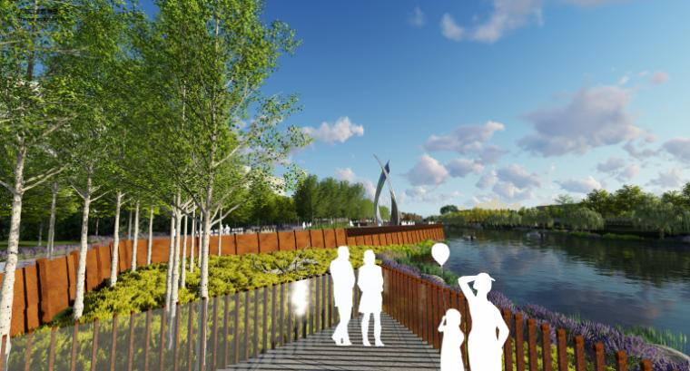 [山东]烟台黄金河河滨公园景观方案设计-临海入口形象展示区