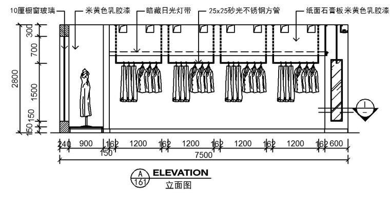 现代简洁特色服装店室内装修施工图设计-立面图2