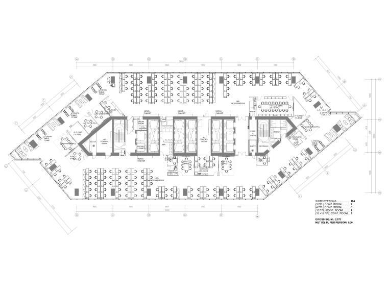 [北京]4000㎡特斯拉总部办公空间设计施工图-7F平面布置图