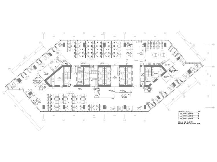 [北京]4000㎡特斯拉总部办公空间设计施工图-8F平面布置图