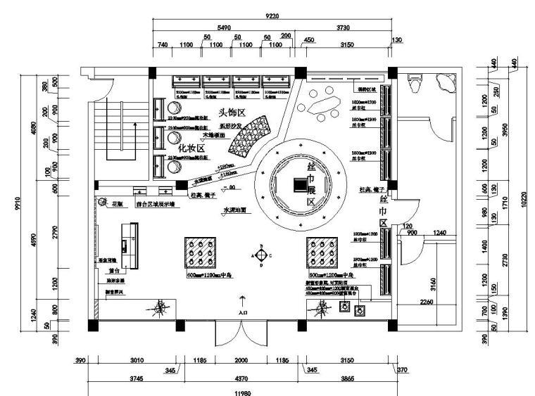 广州现代风服装店室内装修施工图设计-01 平面布置图