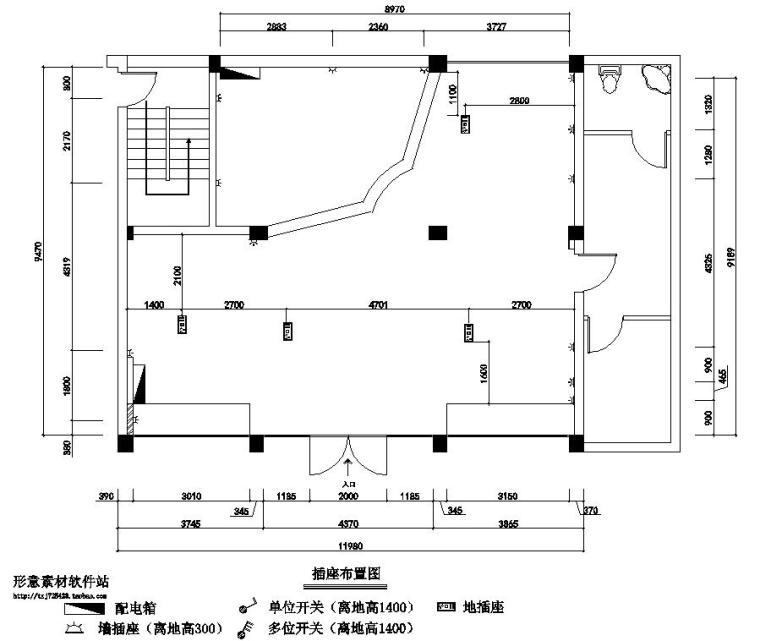 广州现代风服装店室内装修施工图设计-插座布置图