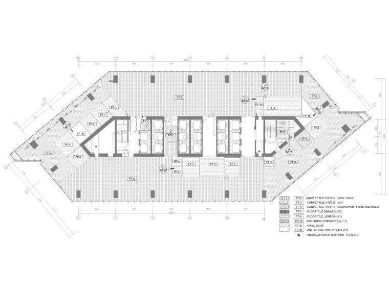 [北京]4000㎡特斯拉总部办公空间设计施工图-7F地面铺装图