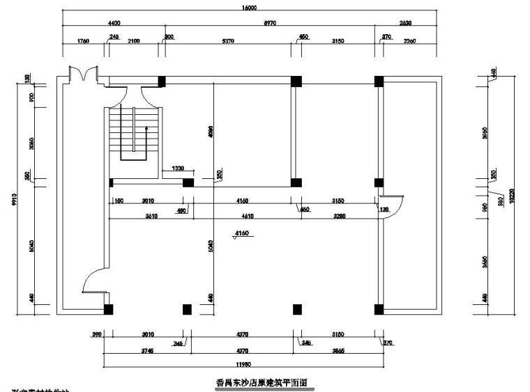 广州现代风服装店室内装修施工图设计-原建筑平面图