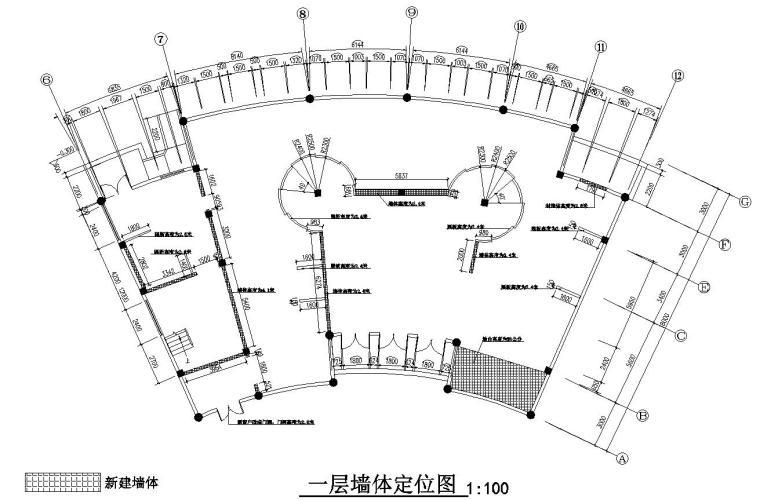 花鼓嘉年华灯场馆施工图设计-一层墙体定位图