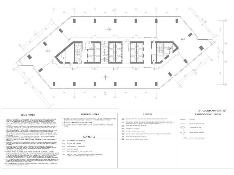 [北京]4000㎡特斯拉总部办公空间设计施工图-7F拆除平面图