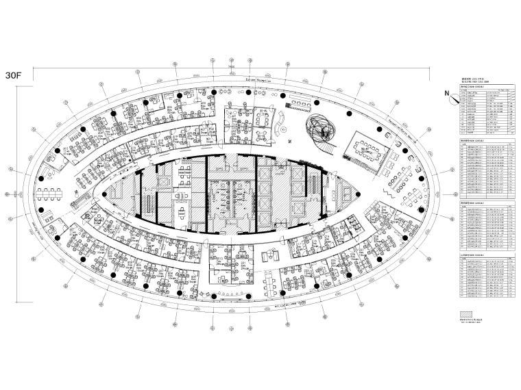 [广州]雅居乐中心4700㎡联合办公空间施工图-30层家具平面图