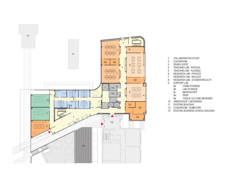 美国韦伯斯特大学布朗宁厅跨科学大楼平面图