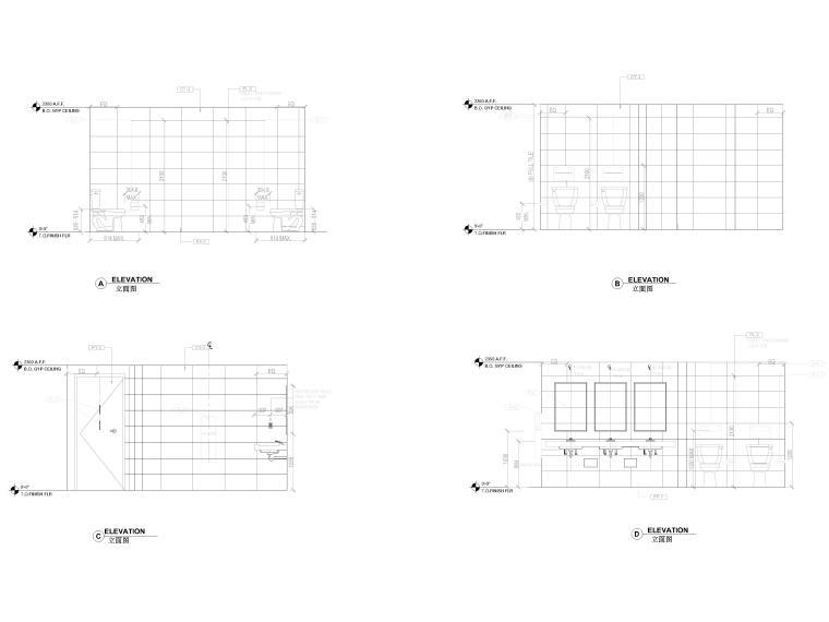 [北京]4000㎡特斯拉总部办公空间设计施工图-卫生间立面图