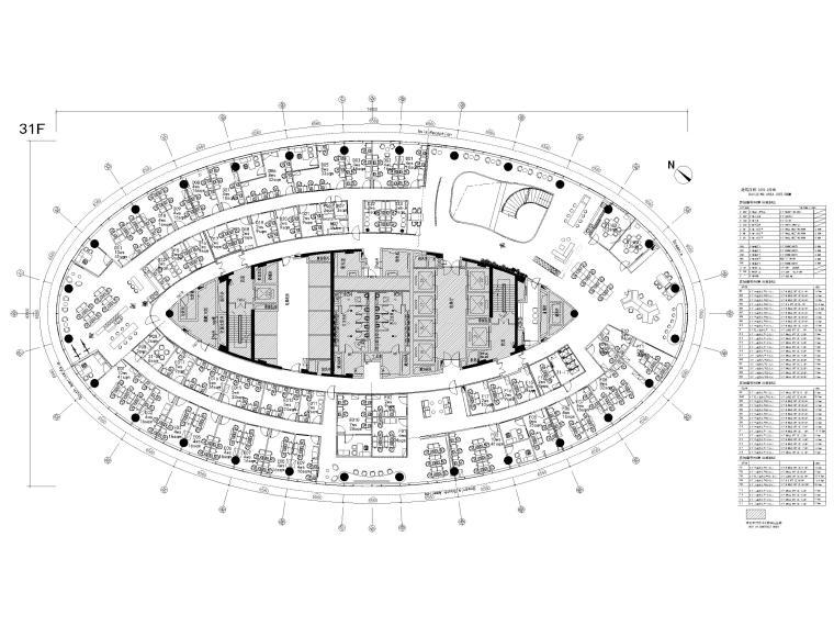[广州]雅居乐中心4700㎡联合办公空间施工图-31层家具平面图