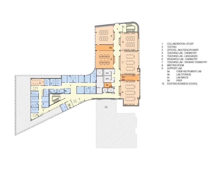 美国韦伯斯特大学布朗宁厅跨科学大楼平面图1