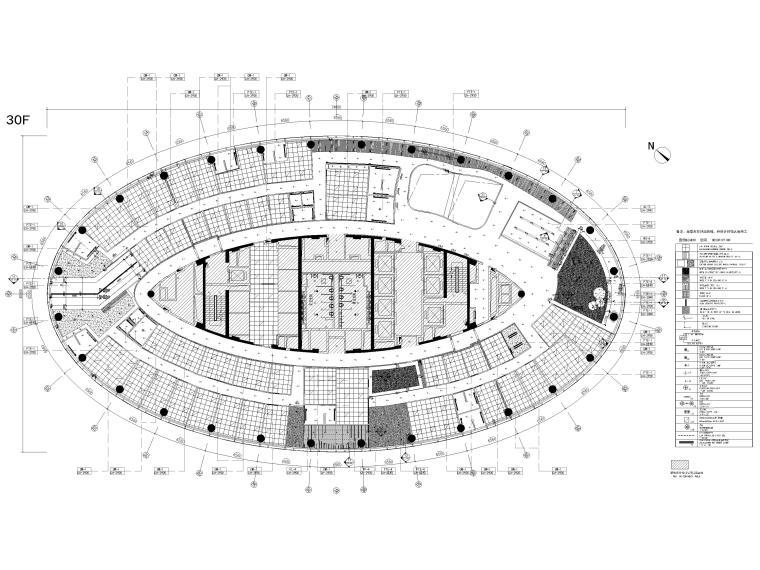 [广州]雅居乐中心4700㎡联合办公空间施工图-30层天花布置图