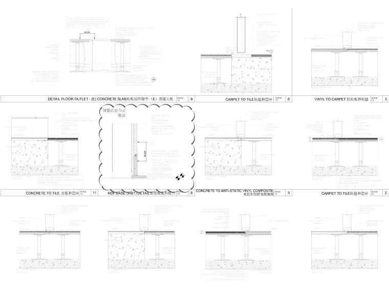 [北京]4000㎡特斯拉总部办公空间设计施工图-地板收口节点图