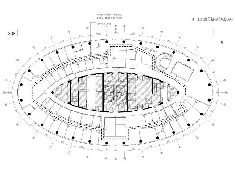 [广州]雅居乐中心4700㎡联合办公空间施工图-30层地板线槽布置图
