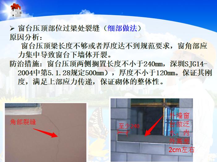 建筑工程质量通病防治培训讲义-窗台压顶部位过梁处裂缝