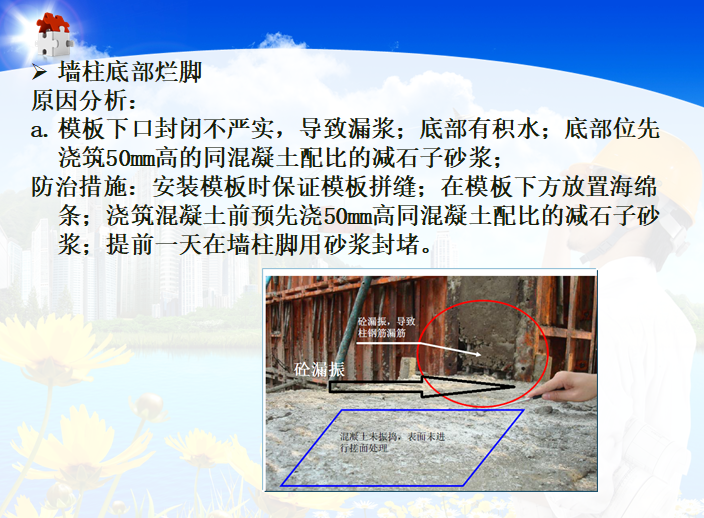 建筑工程质量通病防治培训讲义-墙柱底部烂脚