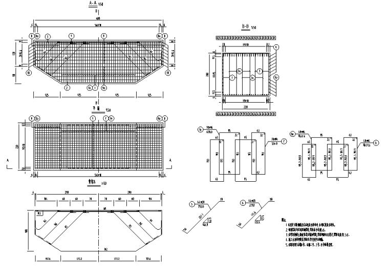 [重庆]某大桥桥梁段设计施工图_城市次干路-桥墩盖梁钢筋构造图