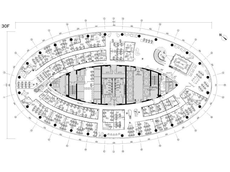 [广州]雅居乐中心4700㎡联合办公空间施工图-30层给排水平面图