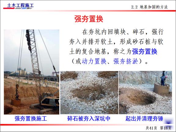 土木工程施工-第4讲-基坑验槽及地基加固处-强夯置换